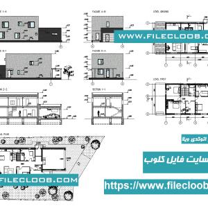دانلود کلیه نقشه های اتوکدی ویلای مدرن و زیبا با فرمت dwg / پلان ویلای دوبلکس / نقشه های کامل ویلا / پروژه طراحی معماری ویلا