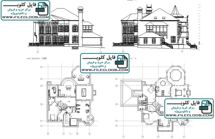 دانلود نقشه های ویلای کلاسیک به صورت اتوکد dwg / پلان ویلا / villa plan